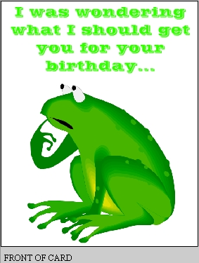 Free printable birthday card with frog free printable greeting card bday1front bday1inside m4hsunfo